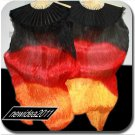 PAIRS 1.5M BELLY DANCE BLACK TO ORANGE 100%SILK FAN VEILS