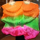 PAPAIRS 1.5M BELLY DANCE 100% SILK FAN VEILS, Orange, Green, Pink