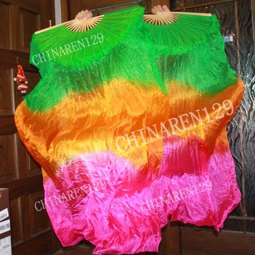 PAIRS 1.5M BELLY DANCE 100% SILK FAN VEILS, Green, Orange, Pink