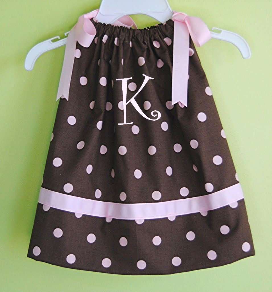 Monogrammed Pillowcase Dress plus hair bow custom size 3m up to 5t 6 polka dot dress