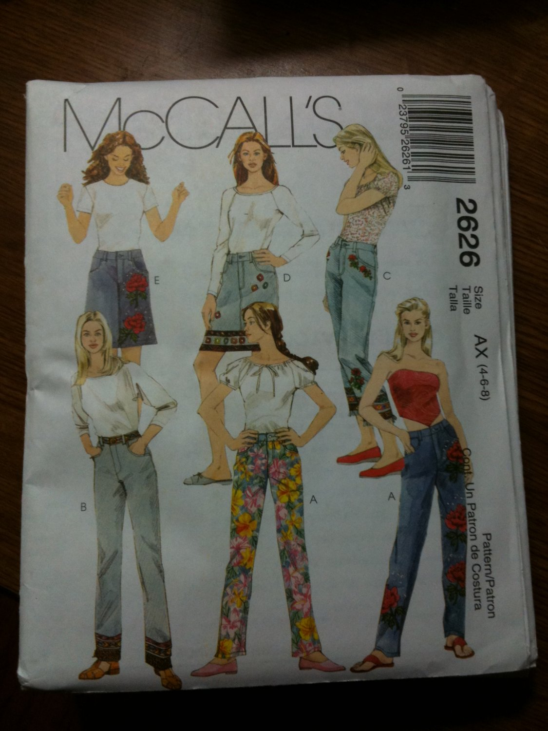 McCall's 2626 Misses Pants in Two Lengths and Skirt Size AX 4-6-8