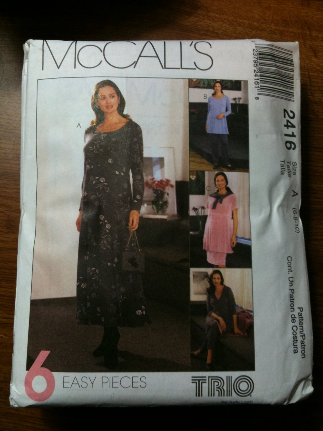 McCall's 2416 Maternity Dress, Top, Jacket, Pull-on Pants or Skirt Size B  8-10-12