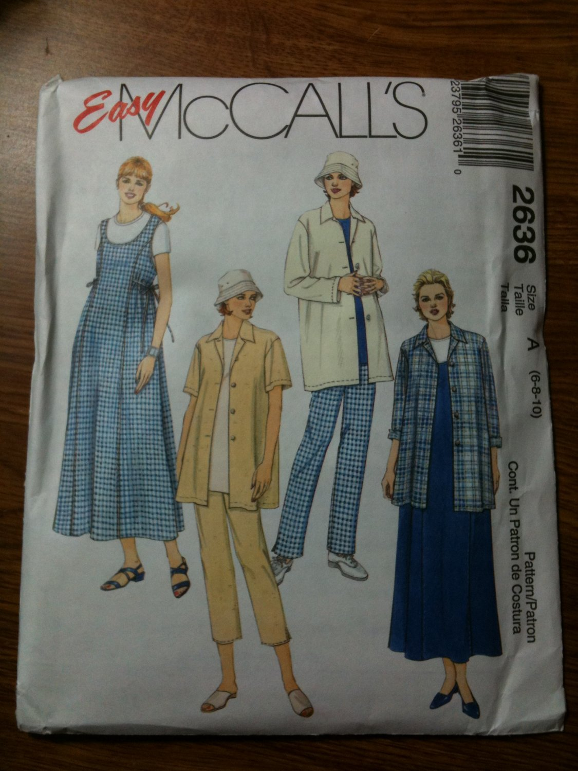 McCall's 2636 Maternity Jumper, Shirt and Pants in Two Lengths Size A 6-8-10