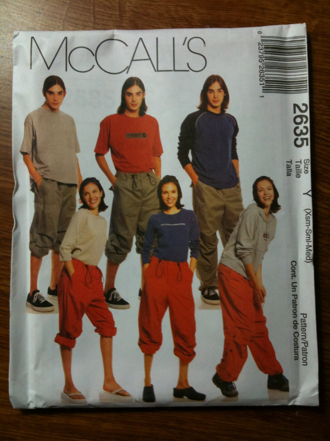 McCall's 2635 Misses', Men's and Teen Boy's Roll-up Pants Size Y XSM-SM-M