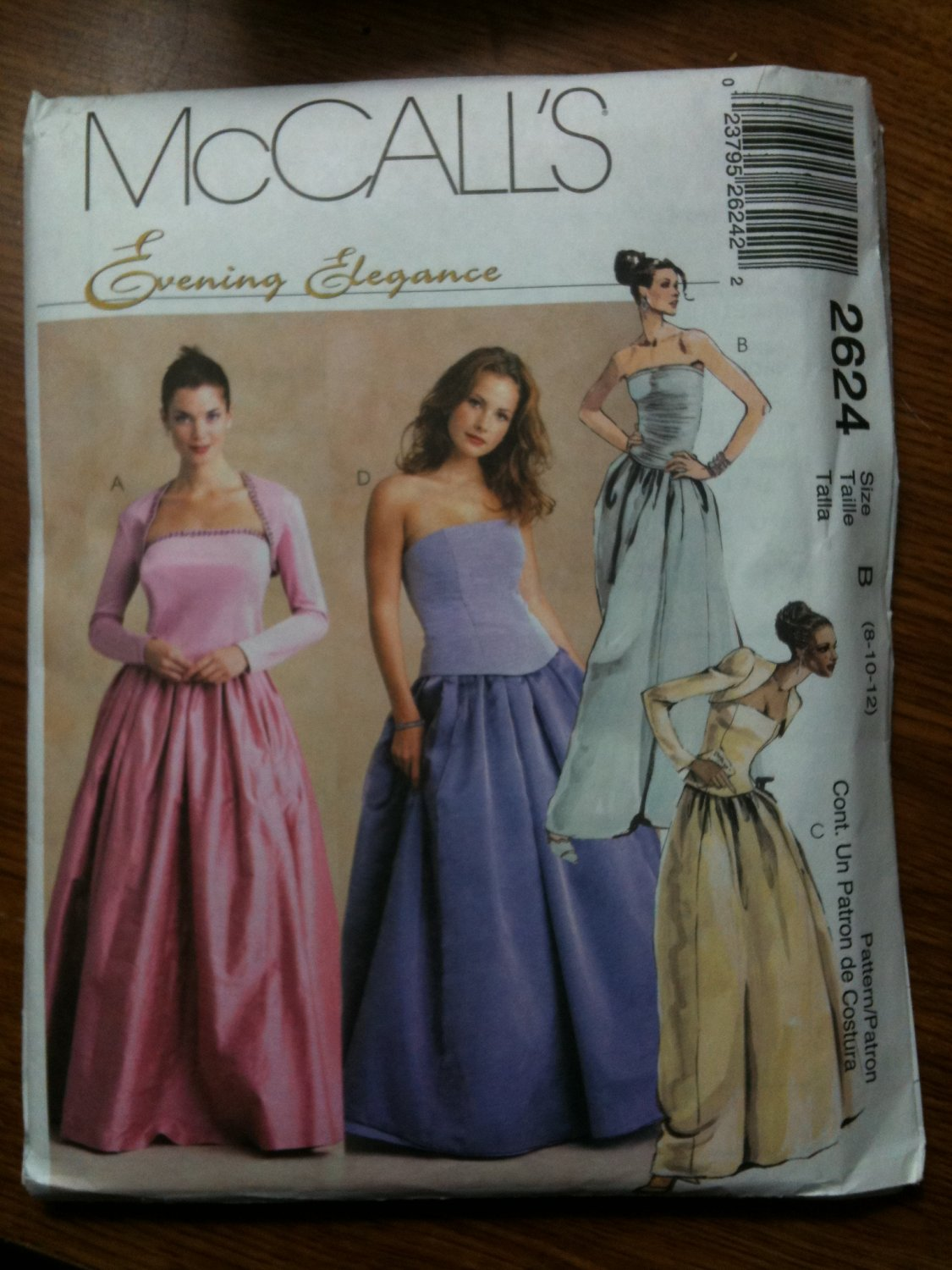 McCall's 2624 Misses' Shrug, Tops and Skirt Size B 8-10-12