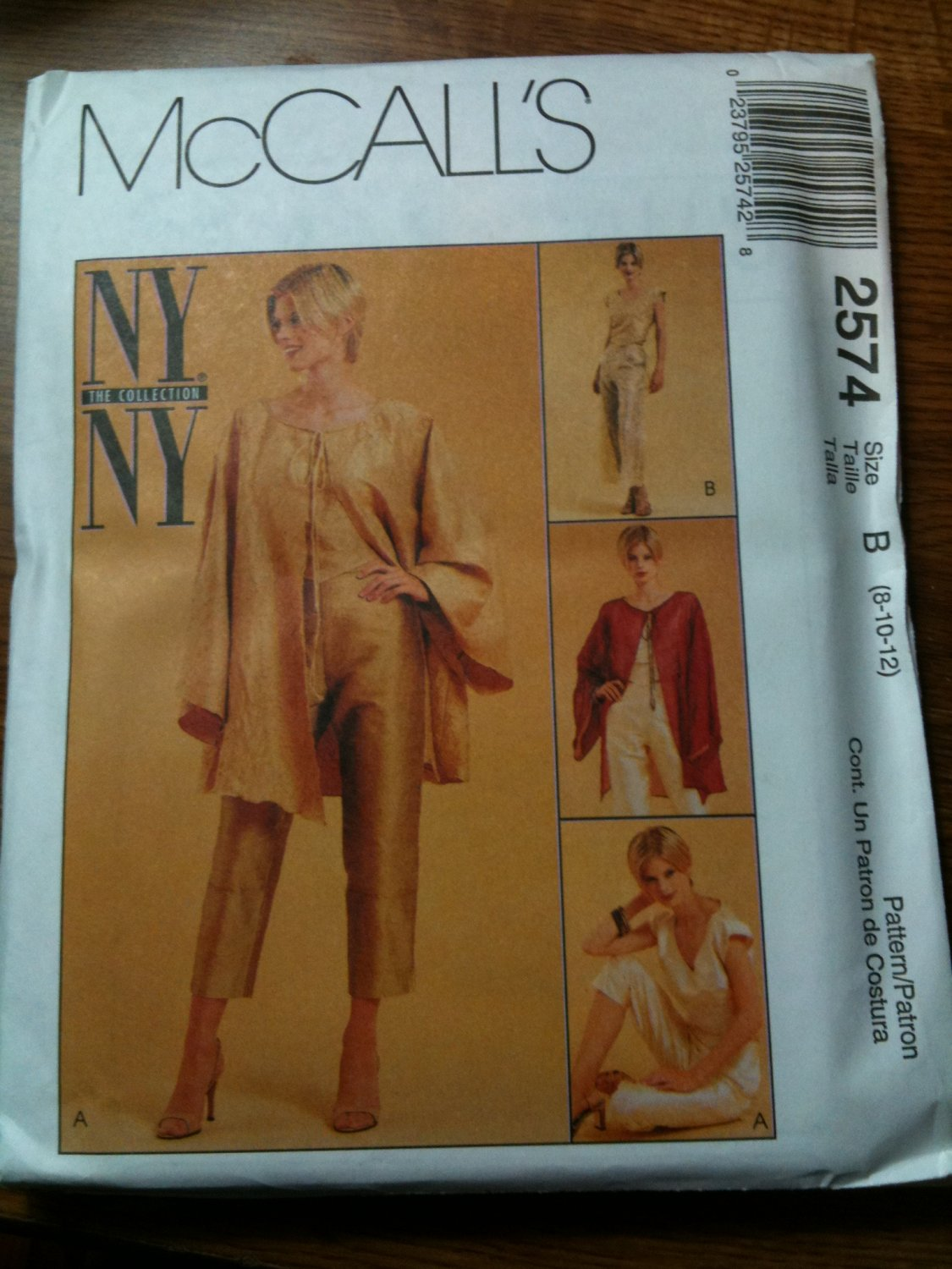 McCall's 2574 Misses' Unlined Jacket, Top, Capri Pants and Side Tie Pants Size B 8-10-12