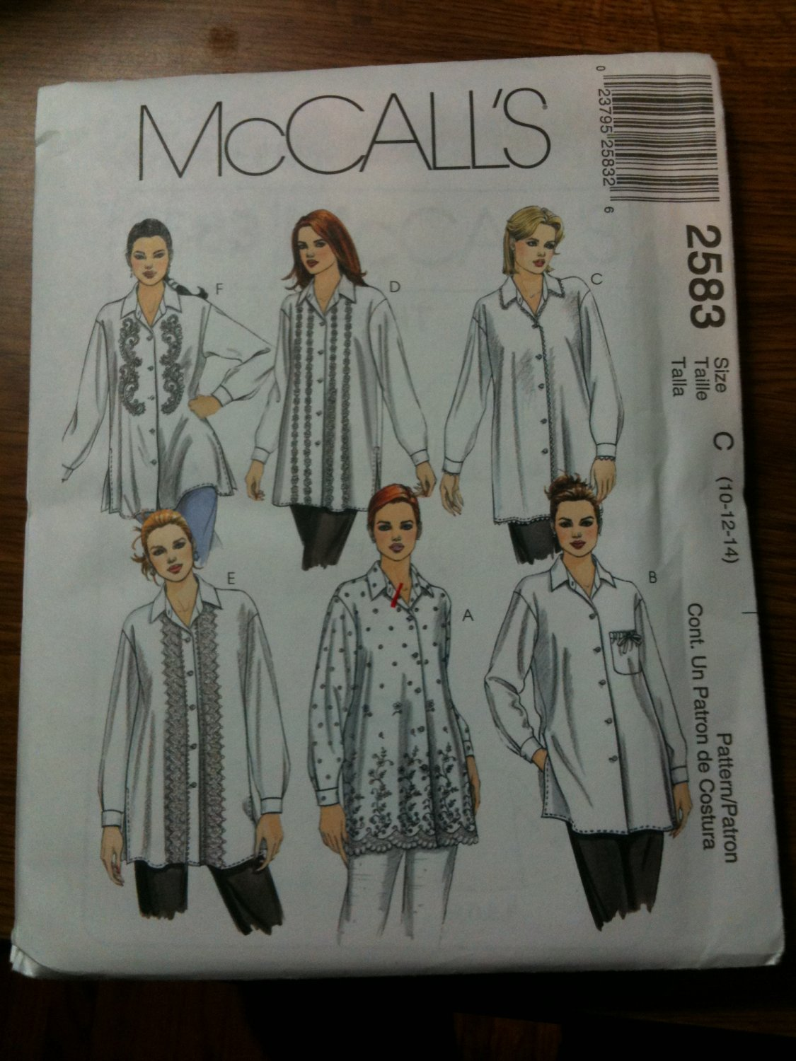 McCall's 2583 Misses' Shirts Size G 20-22-24