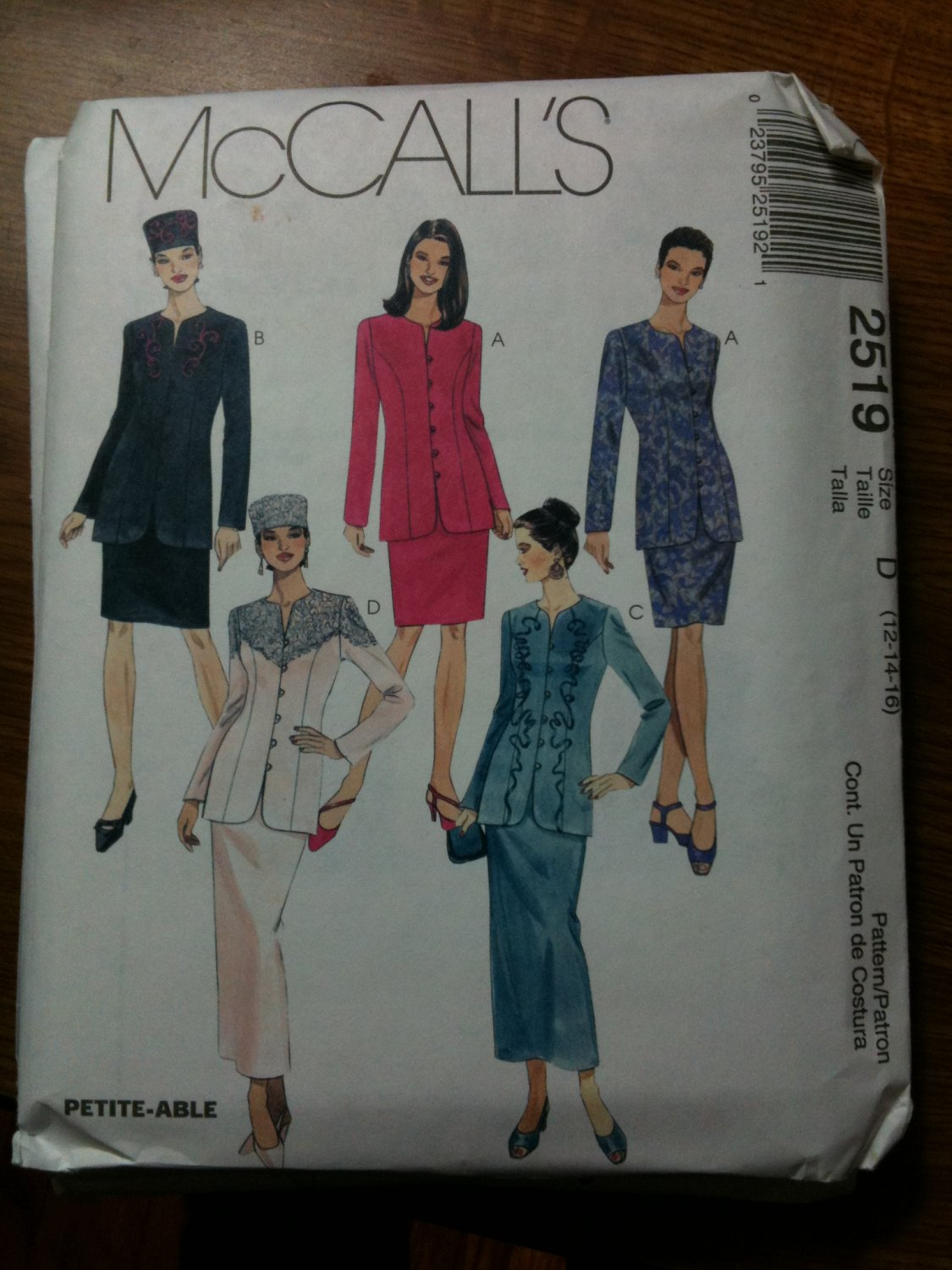 McCall's 2519 Misses' Lined Jacket, Skirt in Two Lengths and Hat in Three Sizes Size D 12-14-16