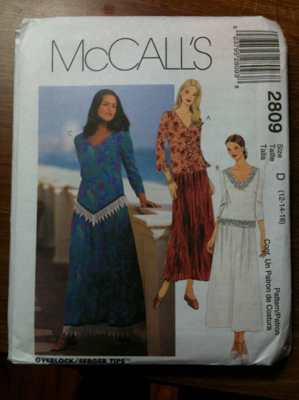 McCall's 2809 Misses'/Miss Petite Two-Piece Dress Size D 12-14-16