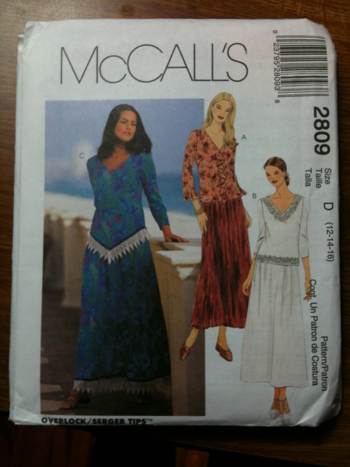 McCall's 2809 Misses'/Miss Petite Two-Piece Dress Size E 14-16-18