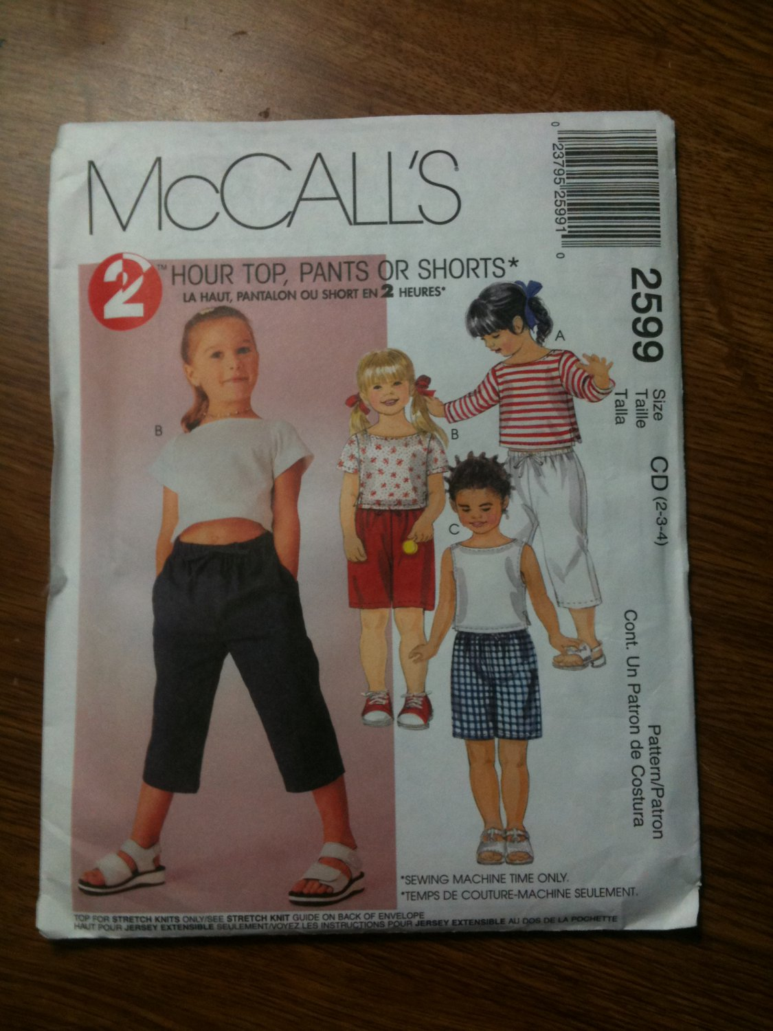 McCall's 2599 Children's Top and Pull-on Pants or Shorts Size CF 4-5-6