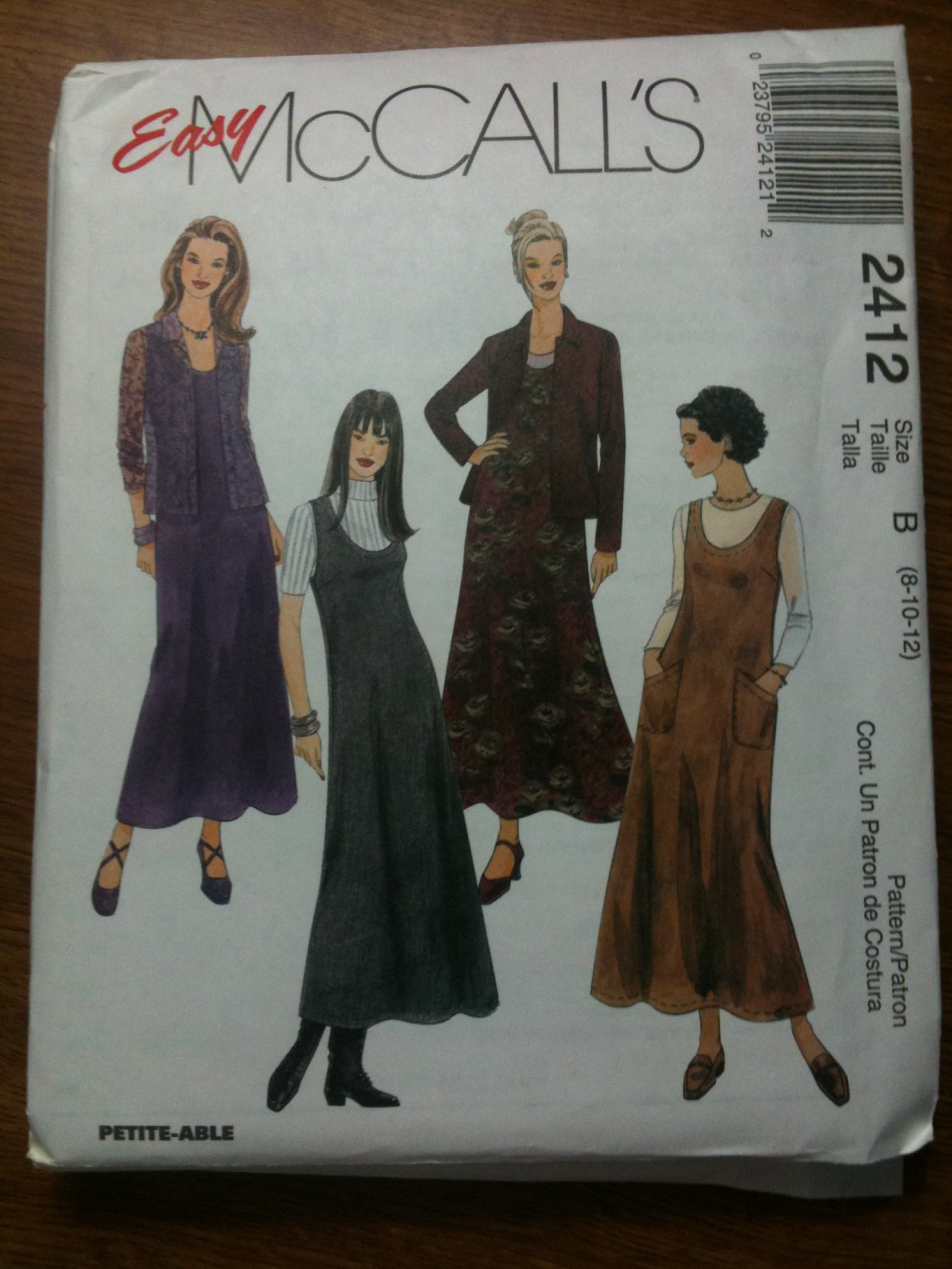 McCall's 2412 Misses' Jumper and Shirt-Jacket Size B 8-10-12