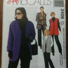 McCall's 2409 Women's Unlined Jacket, Vest and Pull-on Pants Size KK