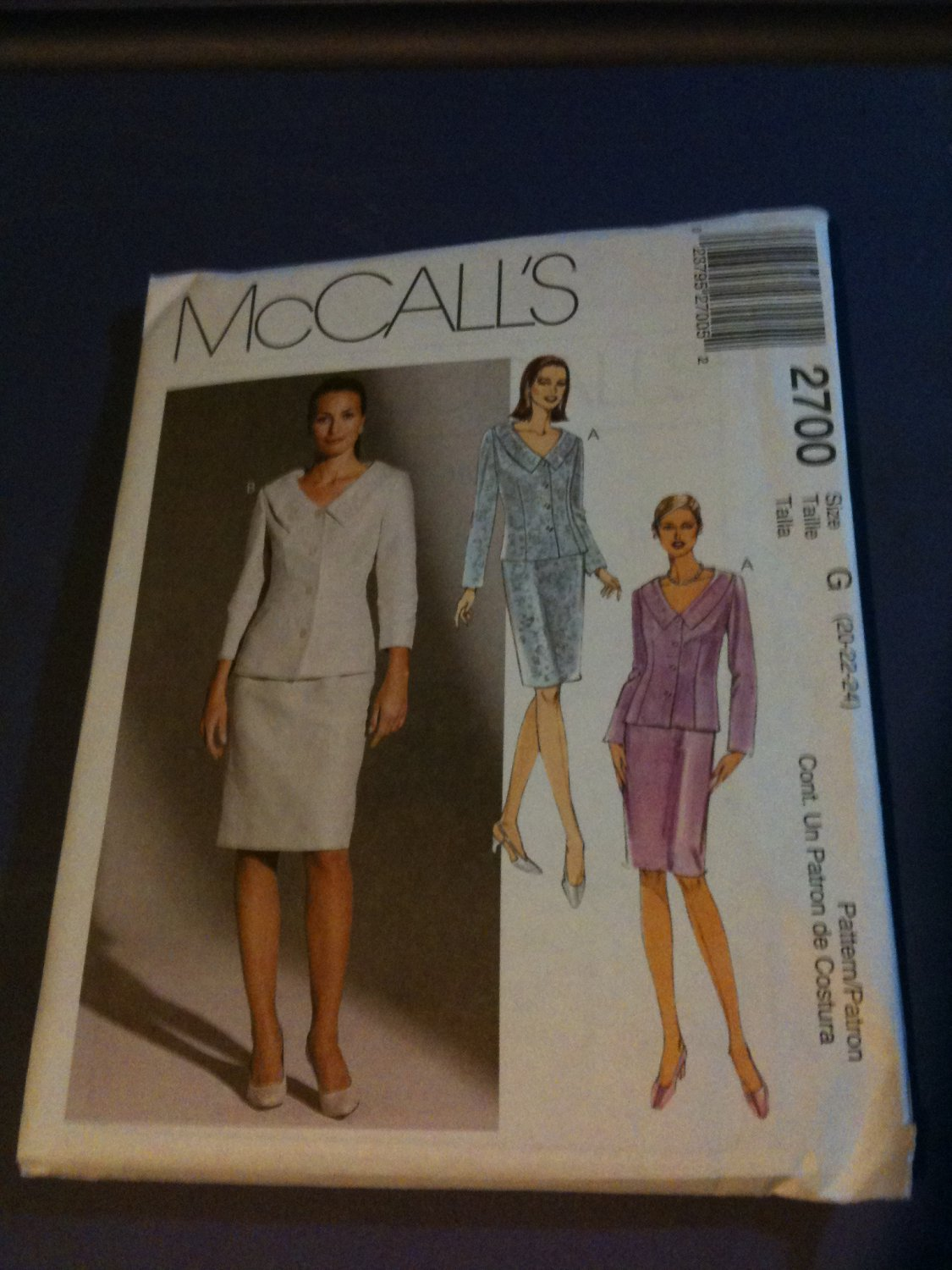 McCall's 2700 Misses'/Miss Petite Lined Jacket and Skirt Size G 20-22-24