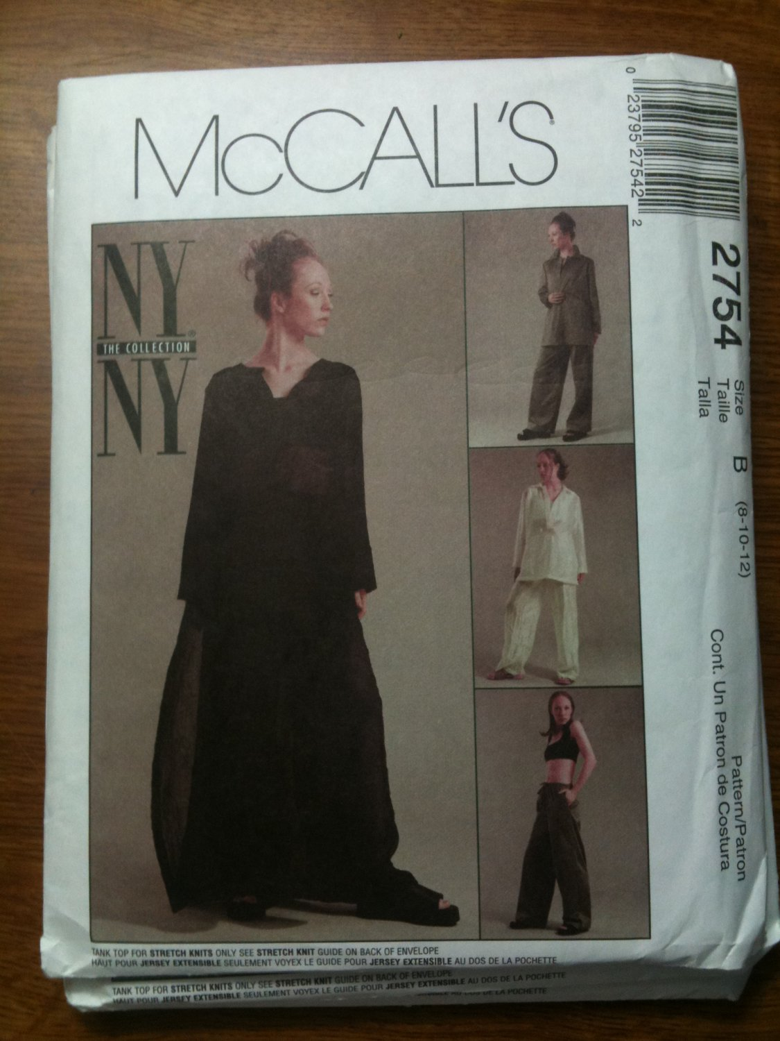 McCall's 2754 Misses' Caftan, Shirt, Tank Top and Pants Size B 8-10-12