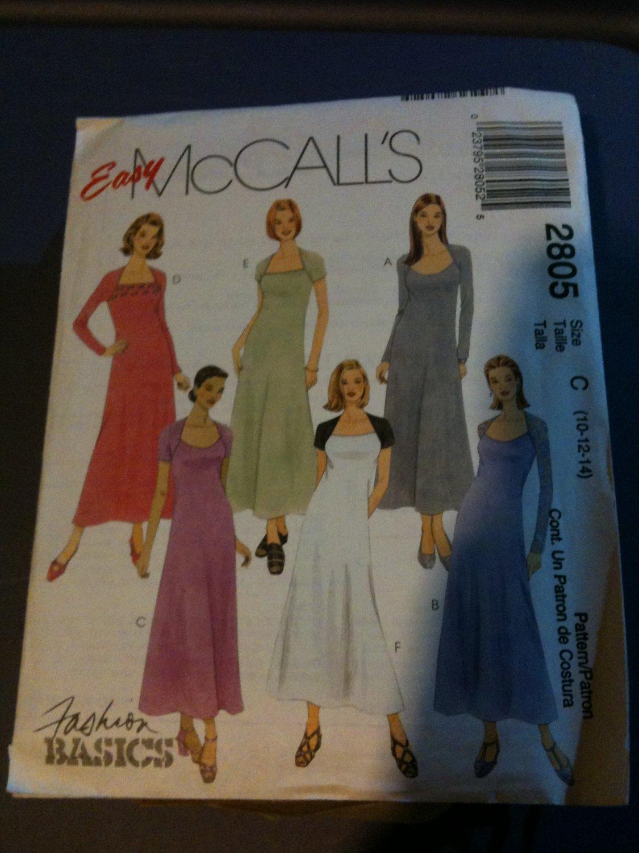 McCall's 2805 Misses'/Miss Petite Dress Size C 10-12-14