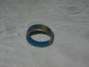 Sz 7 Chinese Cloisonne Ring Blue Flowers Gold Asian