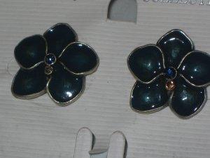 Enamel Silver Flower Post Stud Earrings Blue Rhinestone