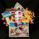 Dog Pet Gift CHRISTMAS BASKET -Toy Chews Treats Ear Cleaner Fine Art Print Card
