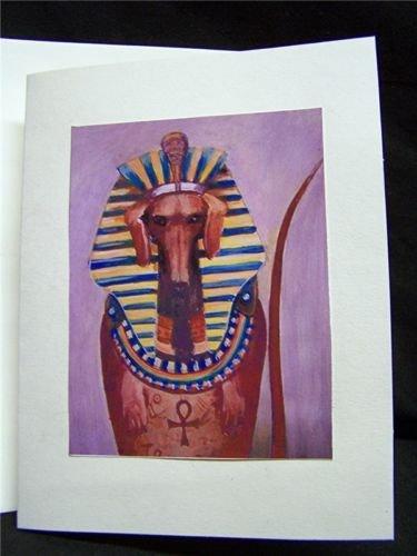 10 Original Art Blank Note Greeting Cards / Envelopes Set KING TUT DACHSHUND DOG