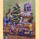 10 Original Fine Art Pet Dog Holiday Greeting Cards / Envelopes Set CHRISTMAS PRESENTS