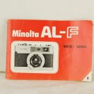 Minolta AL-F Camera Owners Manual Book