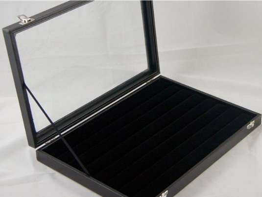 Black velevet ring tray with lid x 5