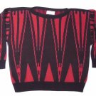Vintage 80s Black and Red Oversized Sweater by Fashion Avenue