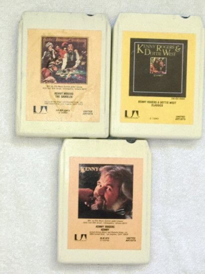 Lot of 3 Kenny Rogers 8 Track Tapes