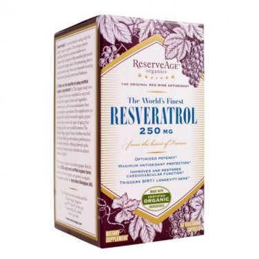 Reserveage World's Finest Resveratrol 250 Mg 60 Capsules   LOWEST PRICE FREE SHIPPING