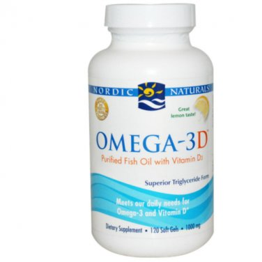 Nordic Naturals Omega-3D Lemon Soft Gels, 120-Count Bottle