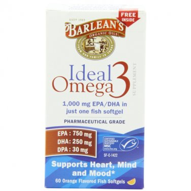Barlean's Organic Oils Ideal Omega-3 1000mg EPA/DHA, Orange Flavor, 60 Count