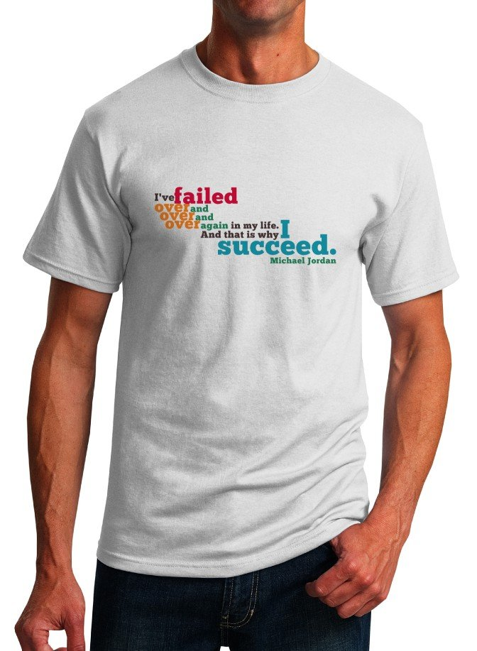 Inspirational Quote T-Shirt - Michael Jordan Why I Succeed - Size L - Unisex White