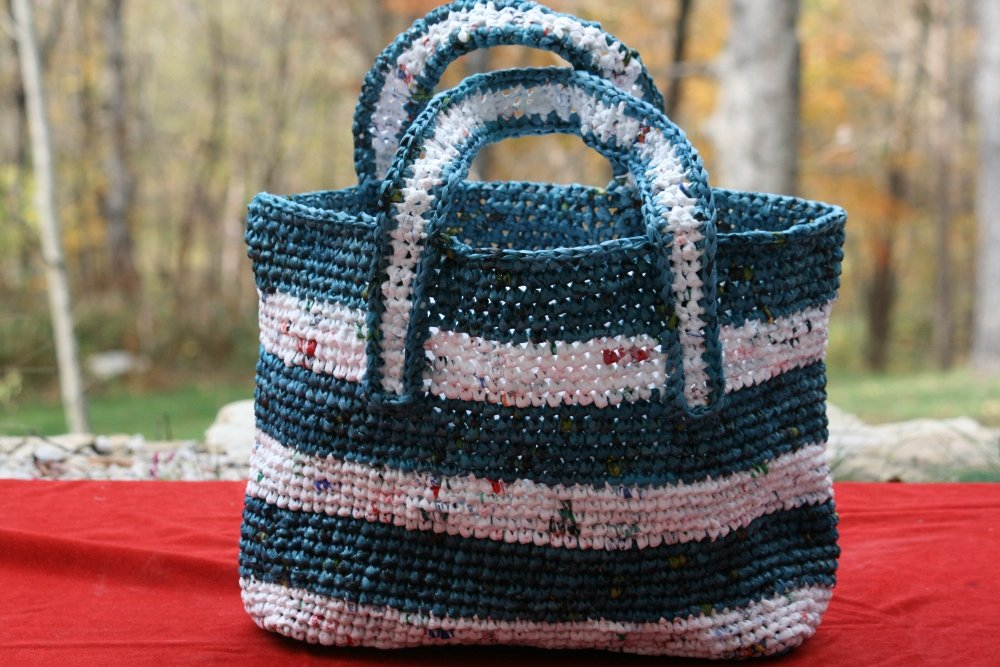 White Tote with Blue Stripes