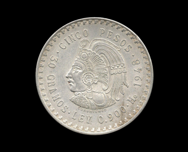 1948 Mexican Cuauhtemoc 5 Peso Silver Coin, .8681 ASW