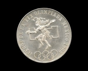 1968 Mexico City Olympics Commemorative Silver Bullion Coin, .52 Troy Ounce Pure Silver