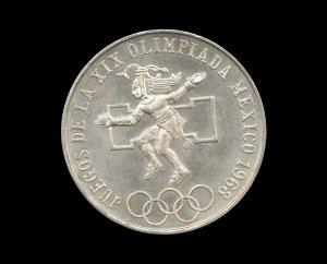 1968 Mexico City Olympics Commemorative Silver Bullion Coin, .52 Troy Ounce Pure Silver
