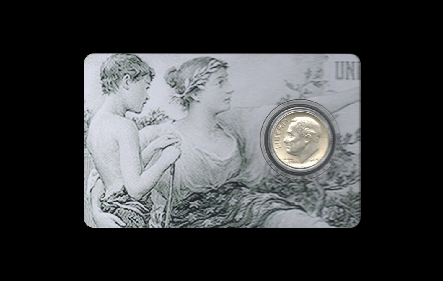 Pre-1965 US Silver Dime Card: History Instructing Youth