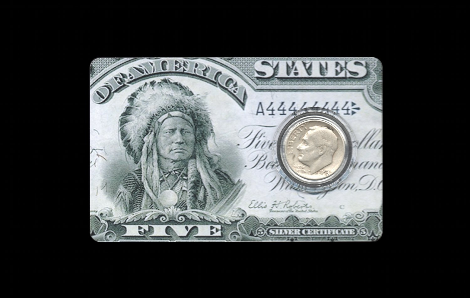 Pre-1965 US Silver Dime Card: Indian Chief