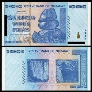Zimbabwe 100 Trillion Dollar Note...and the 1 Dollar Note....A Cautionary Tale