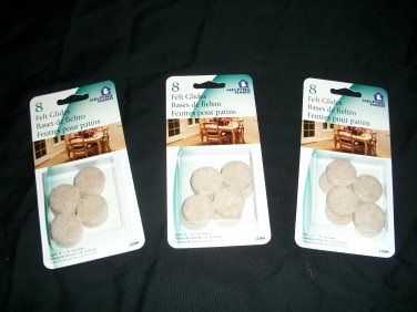 NEW 3 PACK OF QUALITY SELF ADHESIVE FELT FURNITURE PADS 24 PIECES