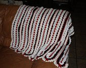 Crocheted red white & black blanket afghan comforter