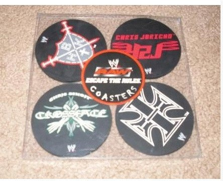WWE RAW DRINK COASTERS SET NIP ~ HBK Y2J HHH & BENOIT