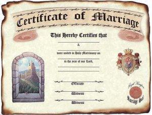 Wedding Favors Keepsake Certificate Renaissance Castle