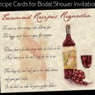 Tuscan Amore Bridal Shower Wedding Favors Recipe Cards