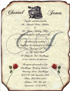 Train Locomotive Wedding Invitations Scrolls