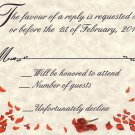 Red Heart Rose Petal Wedding Favor Response Cards