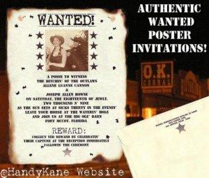 Western Wedding Invitations Wanted Scrolls Poster
