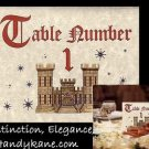 Royal Scroll Theme Wedding Favors Table Number Cards