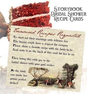 Wedding Favors Storybook Cinderella Recipe Cards